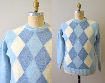 1960s Hockley Blue Wool Argyle Sweater