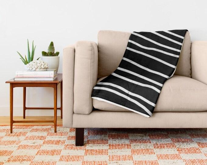 Black and White Soft Fleece Throw Blanket - Striped Bedding - Bedding - Fleece Throw Blanket - Made to Order