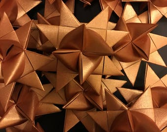 13 Medium Copper Shimmer German Paper Stars Quick Order Ready to Ship Moravian Stars Star Ornaments