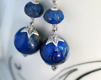 Lapis Lazuli Earrings | Cobalt Blue - Denim Blue Lapis Orb | Faceted Onion | Sterling Silver Dangles | Lapis Berry Earrings | Ready to Ship