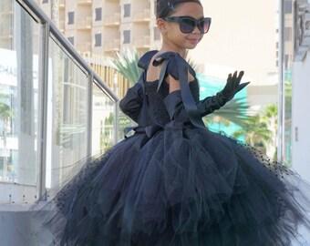 Audrey Hepburn Halloween Costume - Breakfast At Tiffany's - Audrey Hepburn tutu dress - Little Black Dress - Party Dress for Girl - Tutu