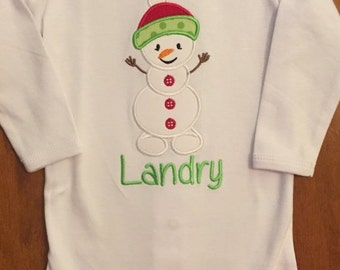 Christmas Snowman Baby Bodysuit or Shirt