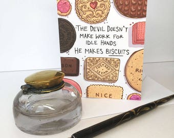 The Devil makes Biscuits card, A6 size, Funny card, food card, food lover, pink, birthday card, thank you card, note card, friend card