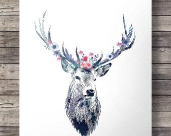 Watercolor deer flower garland, Printable art, peony rose, flower crown, floral printable, deer stag antlers woodland decor Instant download