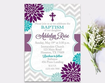 JUNE SALE Baptism Invitation Floral Purple Turquoise Girl First Communion Christening Invite Confirmation Lavender Lilac Teal Blue Flowers B
