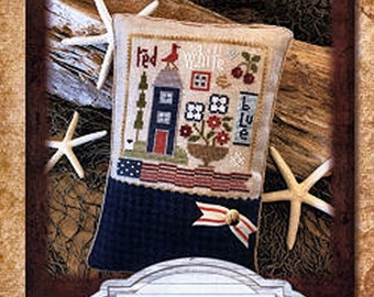 Lizzie Kate Red White Blue K89 - Counted Cross Stitch Pattern, Fabric and Embellishments