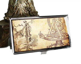 Science Card Case / ID Case / Business Card Holder / Wallet - Microscope and Theodolite