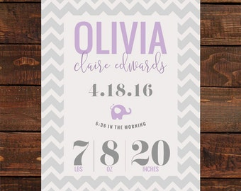 Purple and Gray Chevron Baby Stat Printable Art 8x10