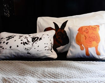 Hand Painted Personalised Pet Portrait Pillow / Cushion - Cushion Covers UK