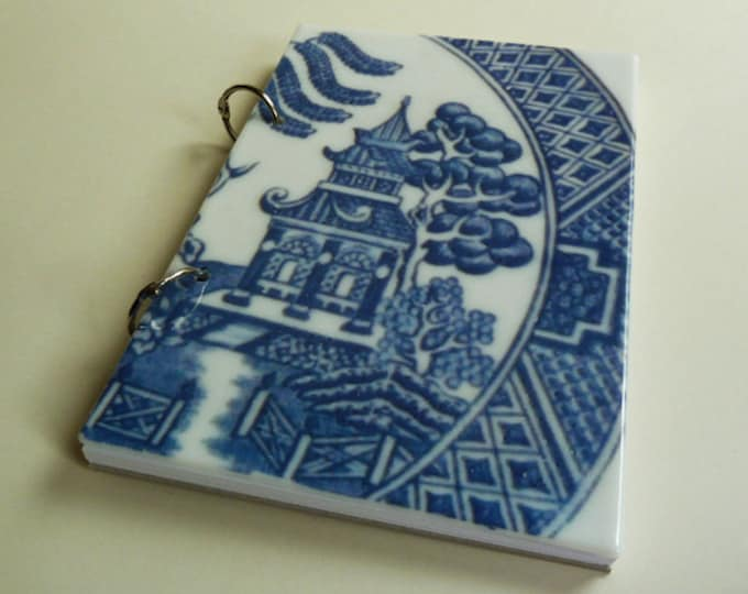 A5 sketchbook, Willow Pattern design on a unique fused glass cover