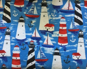 Lighthouses and sailboats on blue background flannel pajama pant