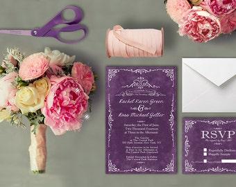 Vintage Wedding Invitations / PRINTED Wedding Invitations in Purple / Plum Violet Aubergine Eggplant Lavender Lilac Plum Amethyst Mauve