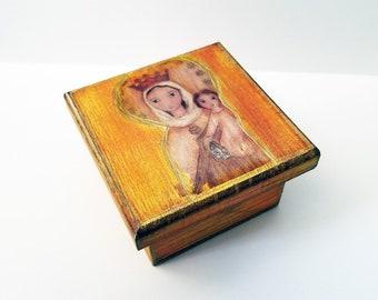 Our Lady of Carmel -  Original Mixed Media Handmade Jewelry Box Folk Art by FLOR LARIOS