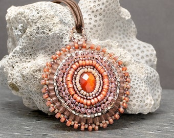 Embroidered, Peach, Modern Embroidery, Seed Bead Necklace, Bead Embroidery, Beaded Necklace, Boho Necklace, Pink Necklace