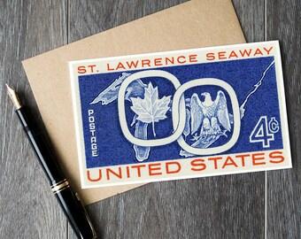 US postage cards, USA postage stamps, st. lawrence seaway, maple leaf card, bald eagle card, vintage birthday card, antique stamp art