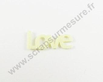 Felt - LOVE ivory - x 6 pcs