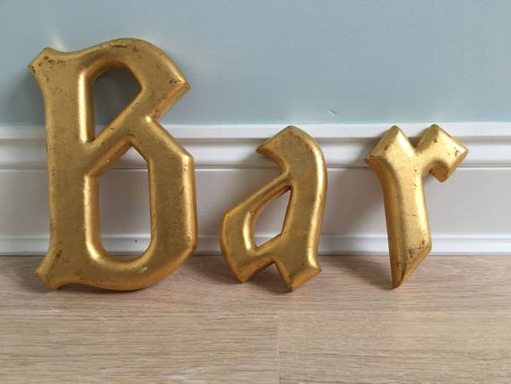 Gilded gothic gold wooden letters