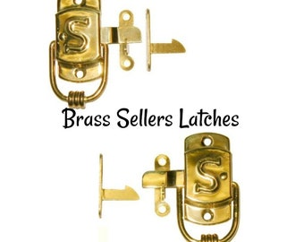 """Brass Latch - Stamped Brass Sellers """"S"""" Style Cabinet Latch - Sellers Cabinet"""