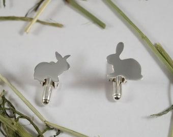 Silver Rabbit cufflinks: A pair of  bunny rabbit shaped sterling silver cufflinks.