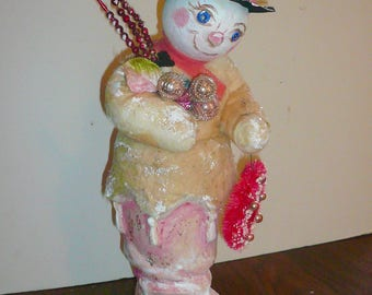 Snowman Handmade Paper Mache Pink Boot Hand Painted Holiday by VintageReinvented