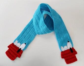 Crochet / White Dog Scarf