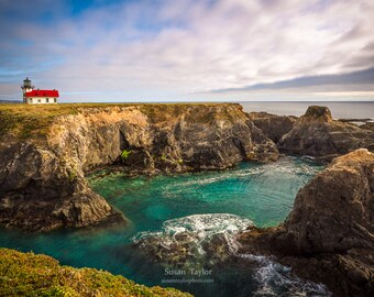 Ocean Photo On Canvas, Lighthouse Print, California Coast, Seascape Print, Hwy 1 Photo, Point Cabrillo, Mendocino Home Decor, Nautical Art