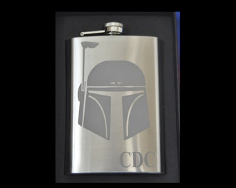 Etched Boba Fett Star Wars, Sci-Fi Stainless Steel 8 ounce Flask by Jackglass on Etsy