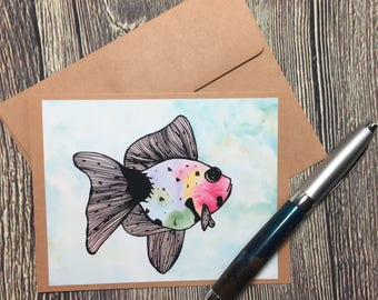 Rainbow Fish Original Watercolor Print - Kraft Note Card