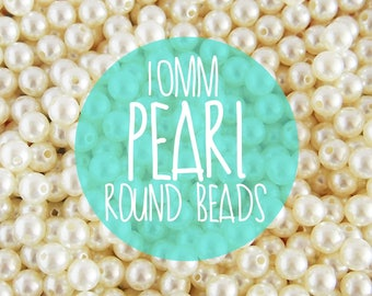 NEW 10mm Pearl Beads. Plastic / Resin Ivory colored beads - 50 pieces.