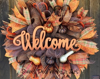 Fall welcome deco mesh wreath, fall welcome wreath, welcome wreath with pumpkins