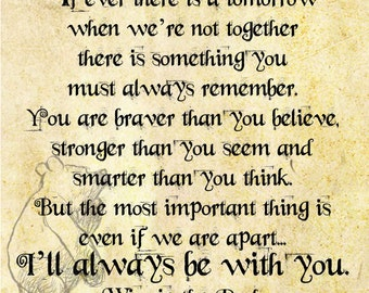 Winnie the Pooh Quote - I'll Always Be With You - Transfer on Canvas