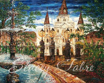 Jackson Square Fountain - matted to fit 8x10 - PRINT
