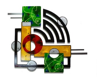 """2 piece Contemporary Modern Geometric Abstract Art Wood and metal Wall Sculpture 36 x 27 """"Jubilee"""" by Zannalisa unique home decor, wall art"""