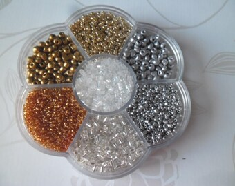 x 1 box mixed 7000 + tone gold/silver glass seed beads