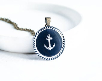 Anchor necklace pendant, sea jewelry, nautical necklace