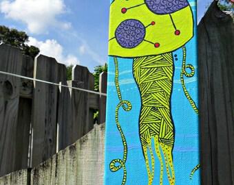 Blue Jellyfish acrylic painting on canvas