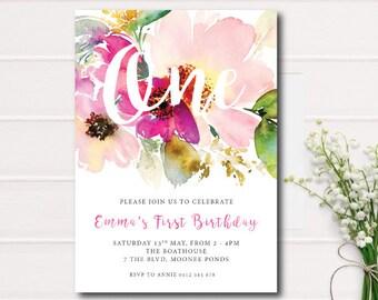Pink Floral First Birthday Invitation, Garden Birthday Invitation, Rustic First Bday, Printable Invitation, Garden Birthday Invite Girl,Bday