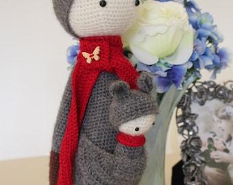 100% Handmade Mohair Crochet doll Kangaroo and baby, Knitting Doll Kangaroo, handmade Plush toy kangaroo, plush gift