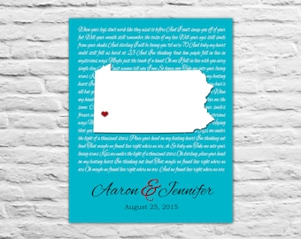 ANY LOCATION - Friend Wedding Gift, Gift For Friends, Anniversary, Anniversary Gift for Wife State Art Print, Wedding Vows, Song Lyrics, Him