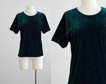 1980s green velvet blouse - 80s vintage velveteen tshirt - tee t shirt top stretch knit - 1990s 90s boxy oversize - extra large l xl