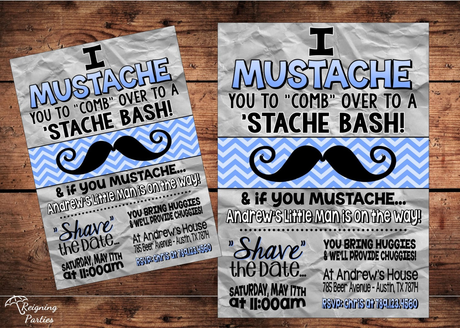 Mustache Bash Diaper Party Stash Bash Party Invitation