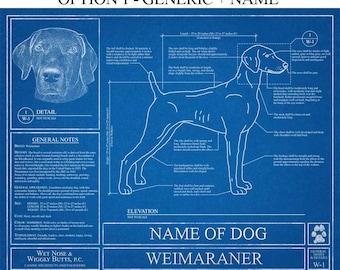Personalized Weimaraner Blueprint / Weimaraner Art / Weimaraner Wall Art / Weimaraner Gift / Weimaraner Print