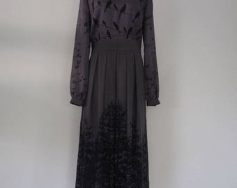 Women's Grey Wool and Silk Midi Dress, decorated dress, dress with a picture, dress with long sleeves