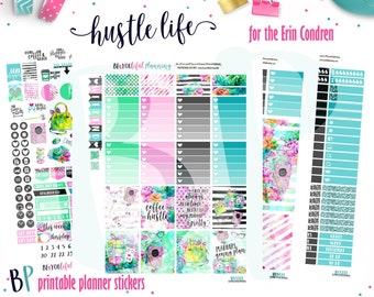 Hustle Life | Planner Stickers | Weekly Printable | for use with Erin Condren | Planner Printable | Printable Planner Stickers | Cut Lines
