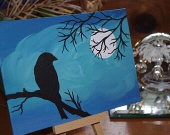 Acrylic Bird Painting, Moonlight, Bird Silhouette, 5 x7 Painting