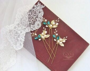 Gold Leaf Hair Pins, Bridal Hair Pins, Emerald and Gold Pearl Hair Pins, Wedding Hair Pins Set of 3 Green Crystal Hair Pins, Gold Hair Piece