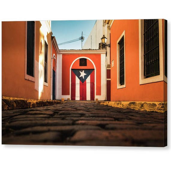 Puerto Rican Flag Door In Old San Juan Canvas Wrap Puerto