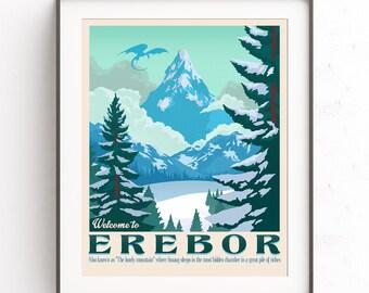 Art d'Erebor. Lone Mountain. Dragon Smaug. Le Seigneur des anneaux. Le film de Hobbit. Illustration de Tolkien. Bilbon Sacquet. Terre du milieu