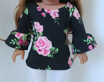 18 inch doll clothes. Fits like American girl .18 inch doll clothing.Black Floral tunic and Leggings