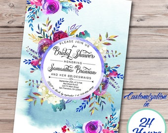 Bridal Shower Invitation, Floral Bridal Shower Invitation, Wedding Shower, Watercolor Flower, Printable Invitation